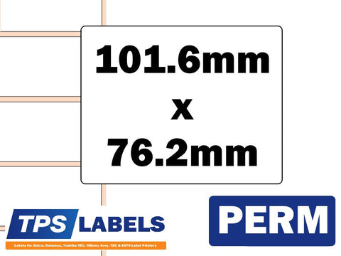 Thermal Transfer Gloss Polypropylene Labels - 101.6mm x 76.2mm for Industrial Printers - TPS Labels