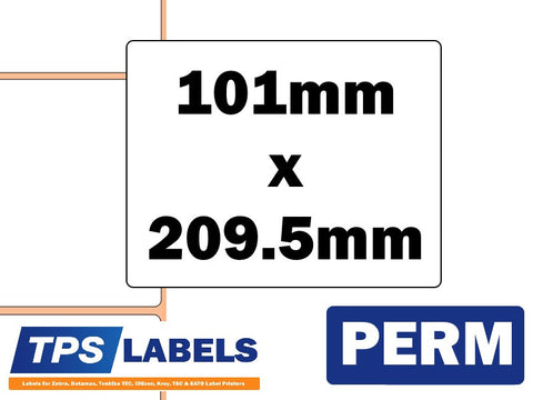 Thermal Transfer Gloss Polypropylene Labels - 101mm x 209.5mm for Industrial Printers - TPS Labels