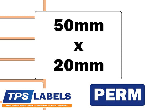 Direct Thermal Paper Labels - 50mm x 20mm for Industrial Printers - TPS Labels