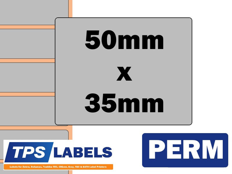 Thermal Transfer Silver Polyester Labels - 50mm x 35mm for Desktop Printers - TPS Labels