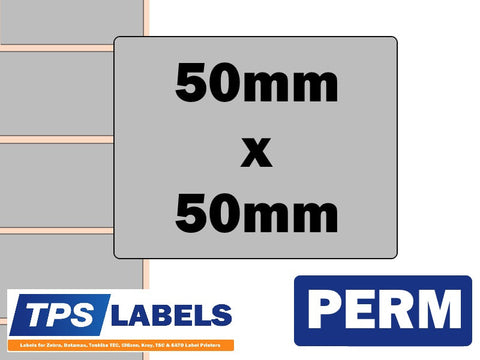 Thermal Transfer Silver Polyester Labels - 50mm x 50mm for Desktop Printers - TPS Labels