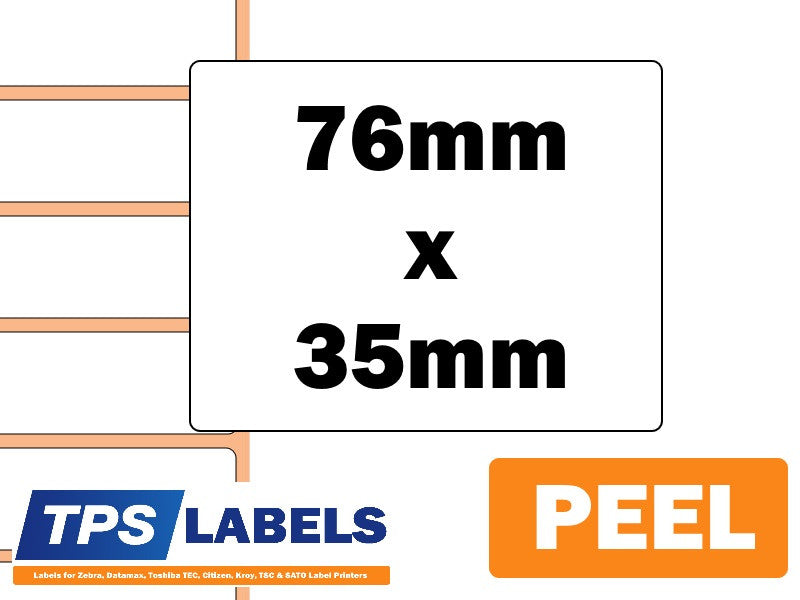 Thermal Transfer Paper Labels (Removable) - 76mm x 35mm for Industrial Printers - TPS Labels