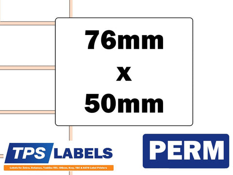 Thermal Transfer Gloss Polypropylene Labels - 76mm x 50mm for Industrial Printers - TPS Labels