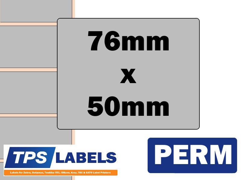 Thermal Transfer Silver Polyester Labels - 76mm x 50mm for TEC Printers - TPS Labels