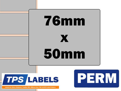 Thermal Transfer Silver Polyester Labels - 76mm x 50mm for Industrial Printers - TPS Labels