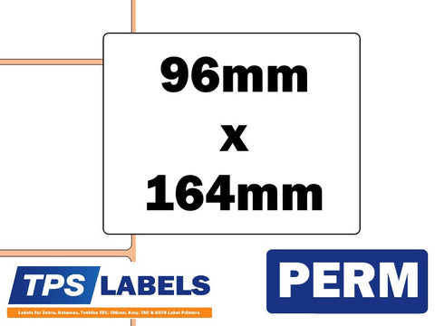 Direct Thermal Polypropylene Labels - 96mm x 164mm for Industrial Printers - TPS Labels