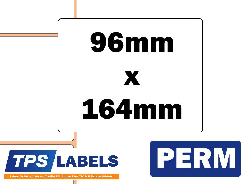 Thermal Transfer Gloss Polypropylene Labels - 96mm x 164mm for Industrial Printers - TPS Labels