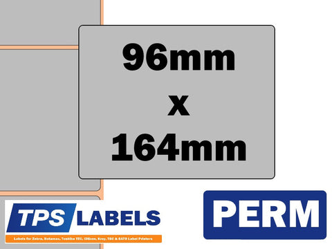 Thermal Transfer Silver Polyester Labels - 96mm x 164mm for Industrial Printers - TPS Labels