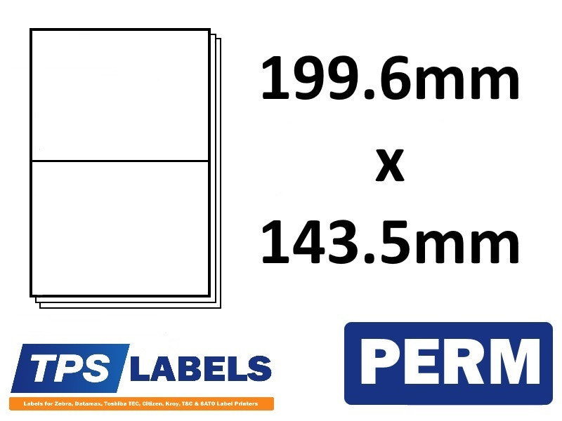A4 Sheet Labels 199.6mm x 143.5mm - 2 labels per sheet, 500 sheets per box.