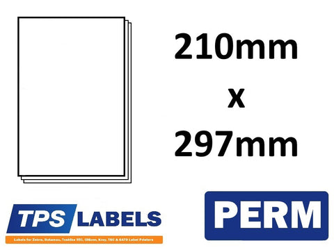 A4 Sheet Labels 210mm x 297mm - 1 label per sheet, 500 sheets per box. - TPS Labels