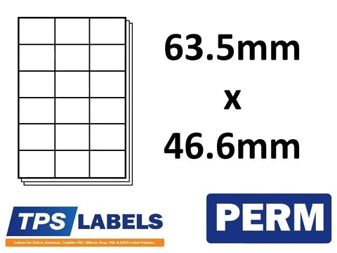 A4 Sheet Labels 63.5mm x 46.6mm - 18 labels per sheet, 500 sheets per box. - TPS Labels