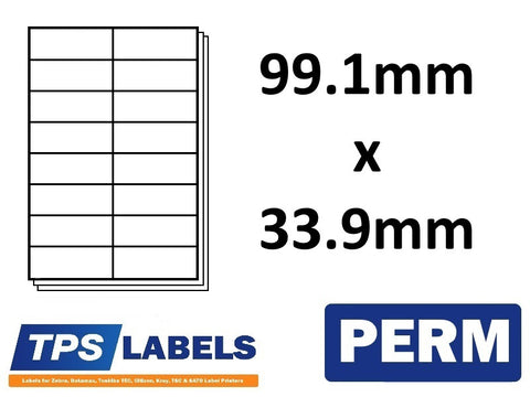 A4 Sheet Labels 99.1mm x 33.9mm - 16 labels per sheet, 500 sheets per box. - TPS Labels
