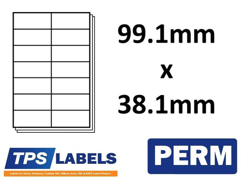 A4 Sheet Labels 99.1mm x 38.1mm - 14 labels per sheet, 500 sheets per box. - TPS Labels