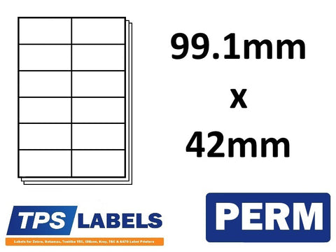 A4 Sheet Labels 99.1mm x 42mm - 12 labels per sheet, 500 sheets per box. - TPS Labels