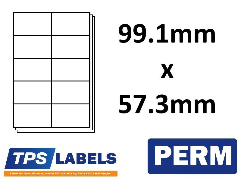 A4 Sheet Labels 99.1mm x 57.3mm - 10 labels per sheet, 500 sheets per box. - TPS Labels