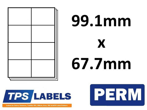 A4 Sheet Labels 99.1mm x 67.7mm - 8 labels per sheet, 500 sheets per box. - TPS Labels