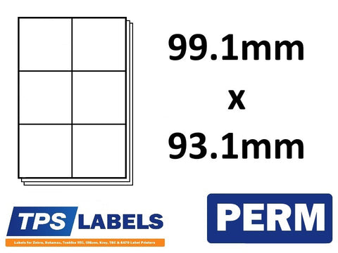 A4 Sheet Labels 99.1mm x 93.1mm - 6 labels per sheet, 500 sheets per box.