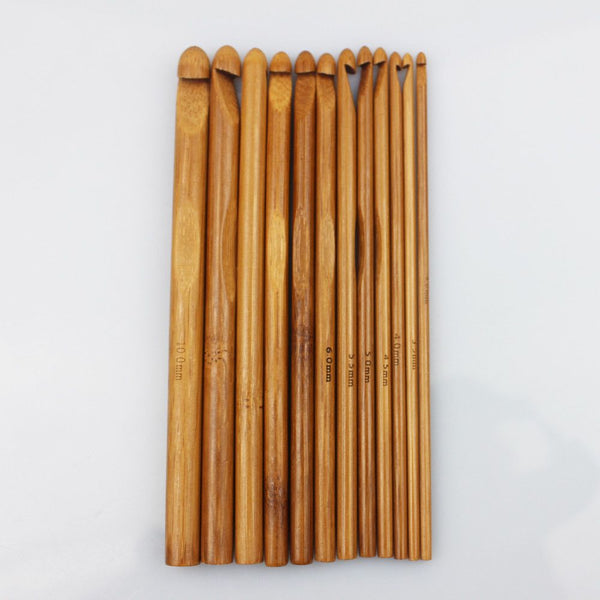 Bamboo Crochet Hooks (12 Sizes) - Carbonized Soft Handle