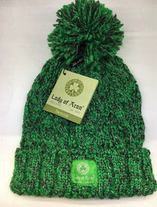 C20 Lady of Aran Forest Green Blend Bobble Beanie