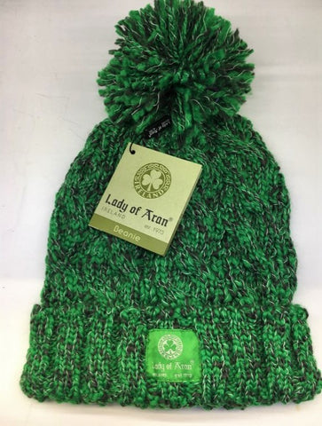 Lady of Aran Forest Green Blend Bobble Beanie