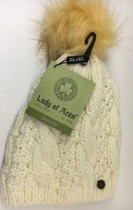 Lady of Aran Natural Beanie with Fur