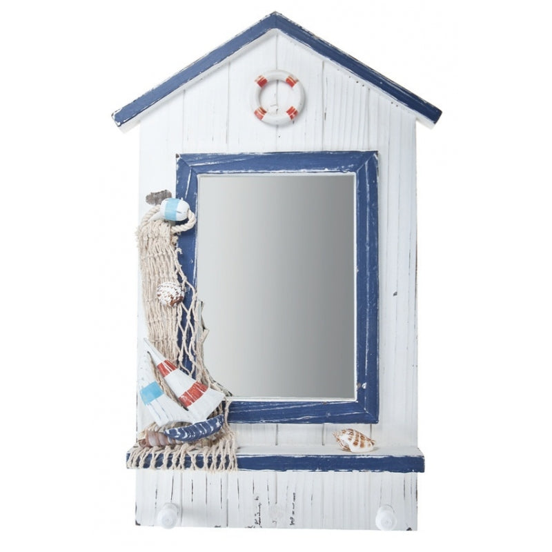 Wooden Mirror with Hooks Net