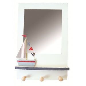Sailing Boat Red Mirror with Hooks