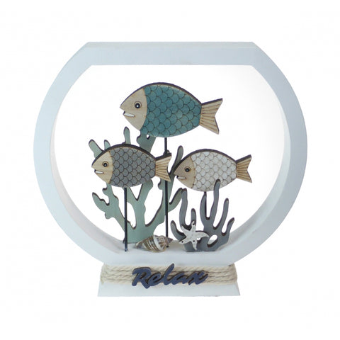 Wooden 'Relax' Fish-Tank Decor