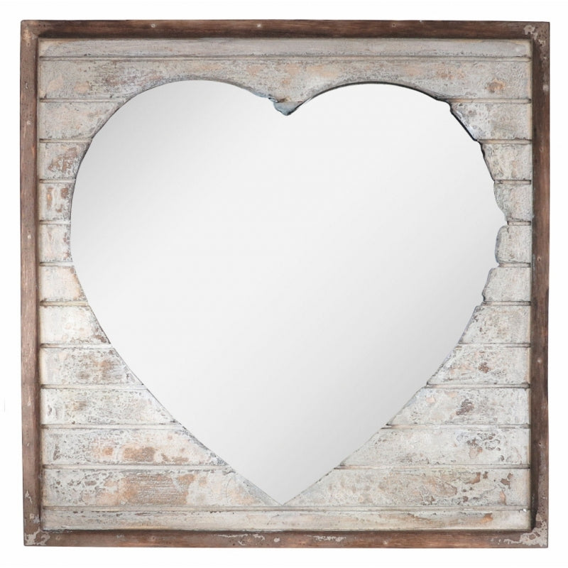 Wooden Heart Mirror