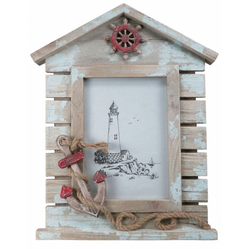 Wooden Photo Frame with Shipwheel & Anchor