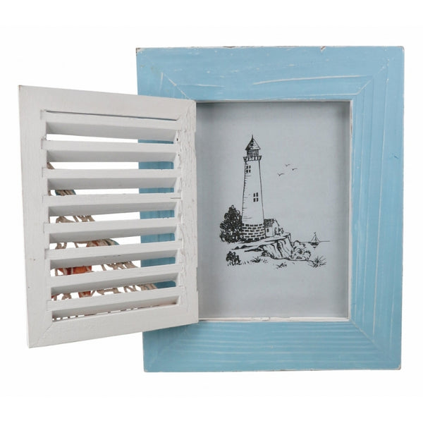 Wooden Nautical Photo Frame with Beach Hut Door