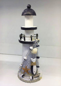 Small Wooden & Polyresin Lighthouse Blue