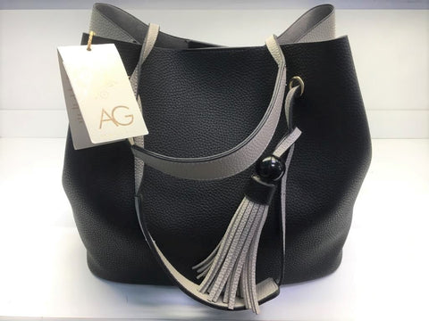 Anna Grace Handbag Black/Grey