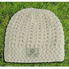 Lady of Aran Traditional Knit Beanie White