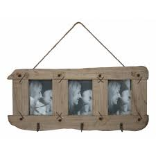 Rustic Wooden Frame with Hooks