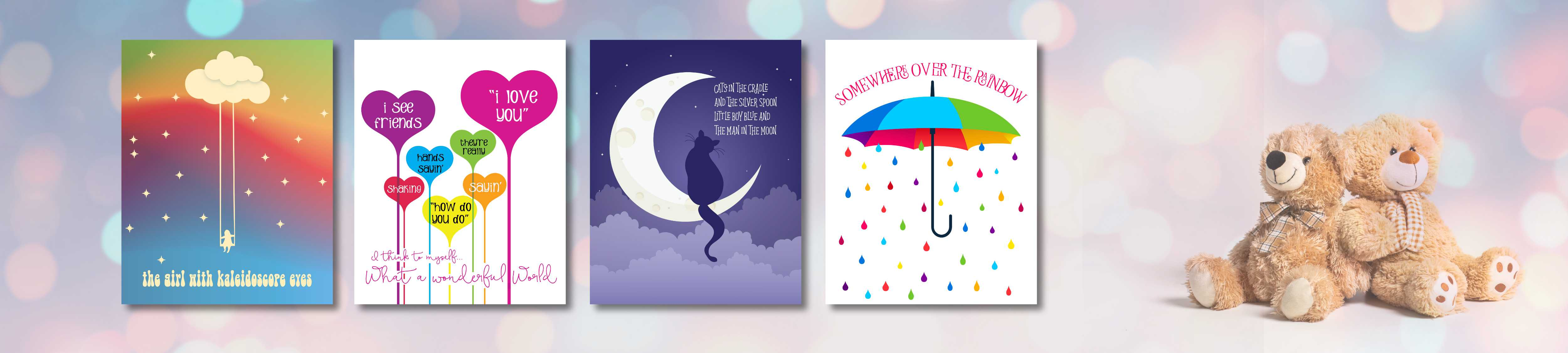Light-Hearted Songs for Kids and Childrens Playrooms - Wall Art Print Posters and Canvas