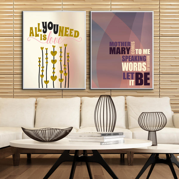 Beatles Art Poster Let It Be Song Lyrics Illustration