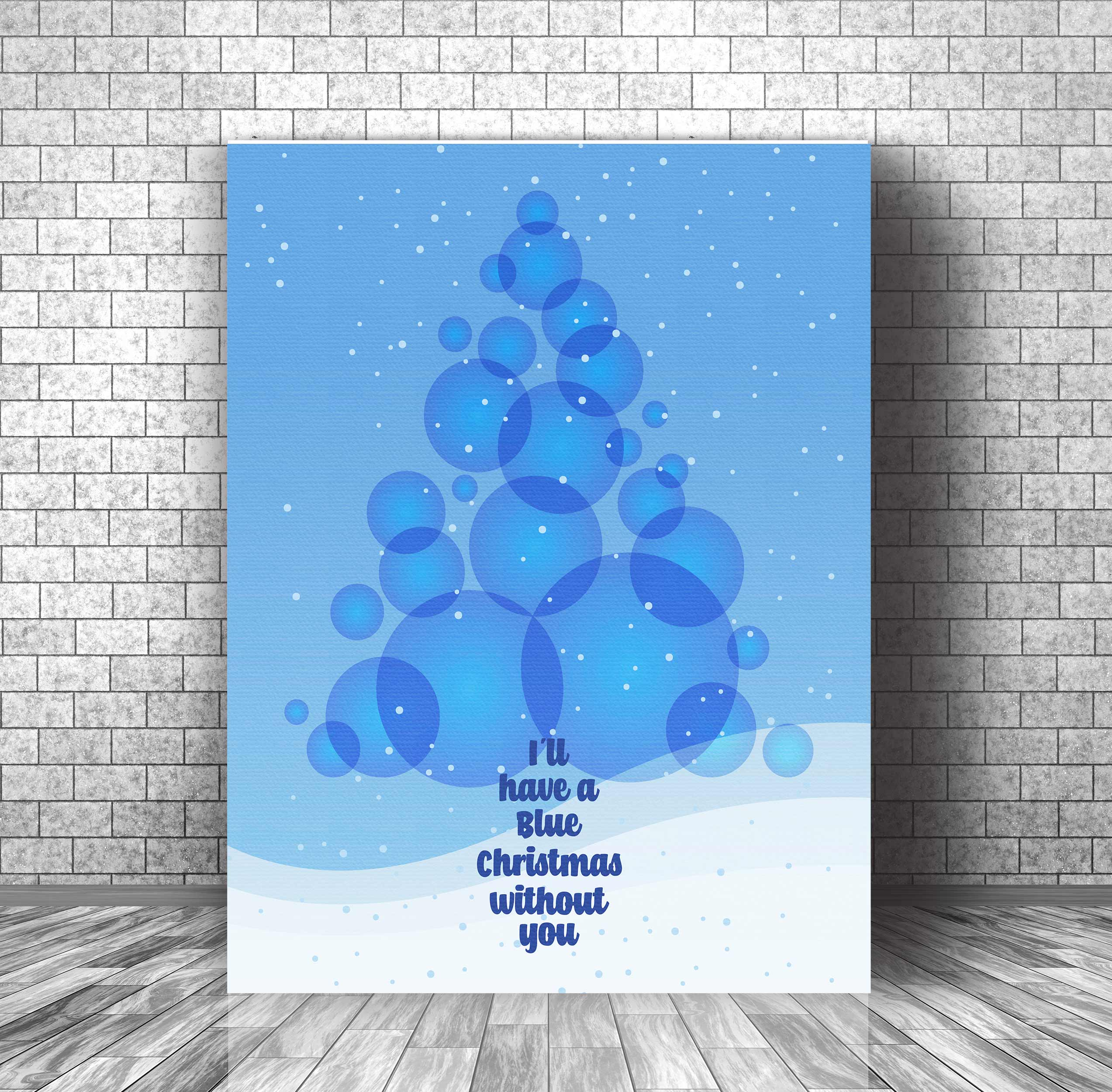 image showing sample 24x36 canvas gallery wrap - Blue Christmas Elvis