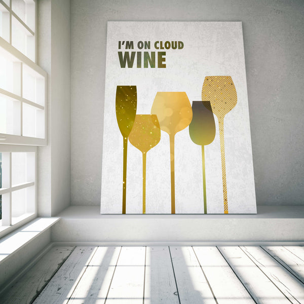 I'm on Cloud Wine Poster Artwork Bar Sign Wine Lovers Gift Print