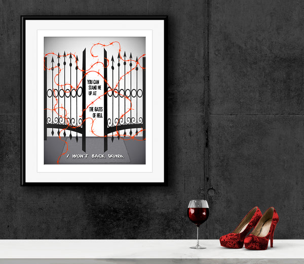 I Won't Back Down by Tom Petty Song Lyric Art Poster Print Wall Decor