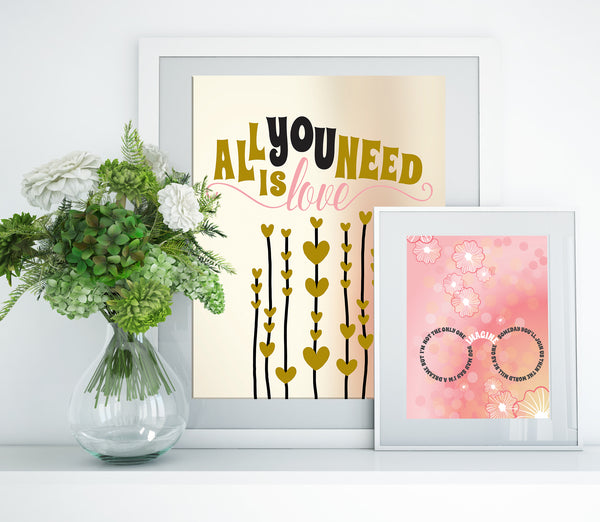 Imagine by John Lennon Song Lyrics Art Print Poster Wall Decor