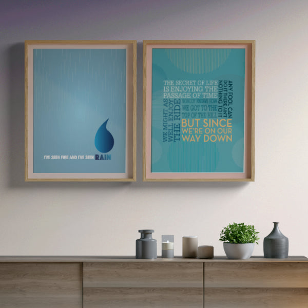 Fire and Rain by James Taylor - Pop Music Wall Art Print Decor - Music Poster