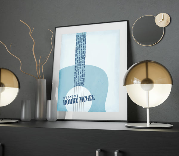 me and bobby mcgee song lyrics art print poster classic rock