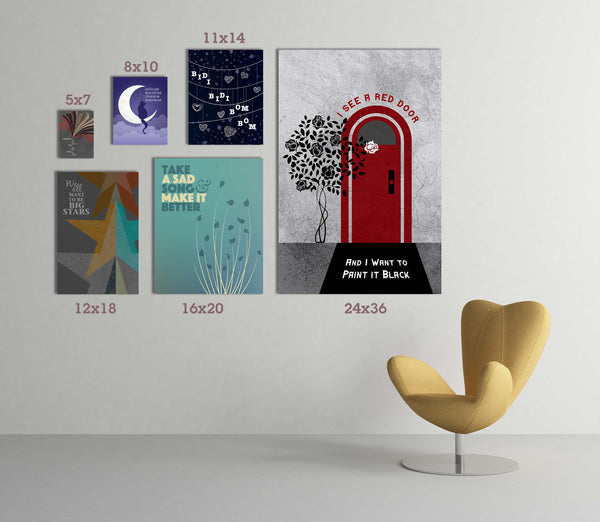 Artwork Sizes at Song Lyrics Art