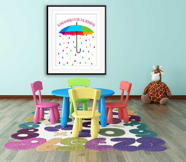 somewhere over the rainbow wizard of oz kids playroom decor artwork
