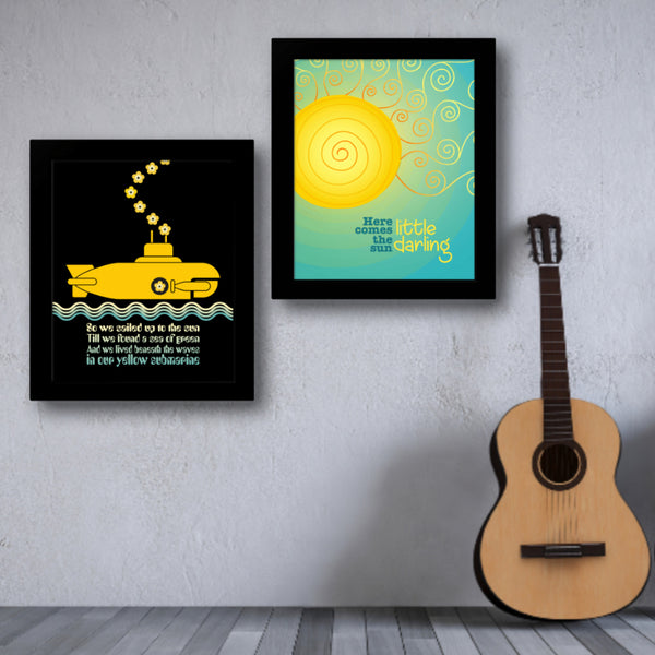 Here Comes the Sun by the Beatles - Song Lyrics Art Wall Print
