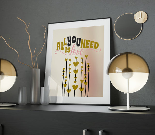 All you Need is Love by the Beatles Song Lyric Illustration Poster
