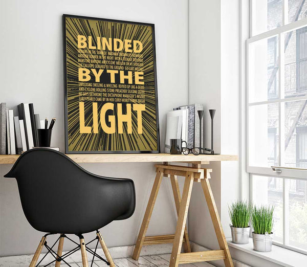 blinded by the light manfred mann's earth band written by bruce springsteen song lyric wall art print poster decor