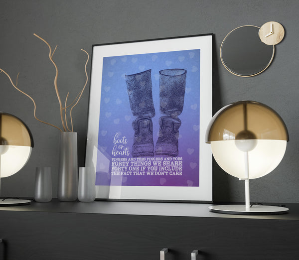 Boots or Hearts by the Tragically Hip Lyrically Inspired Art Poster