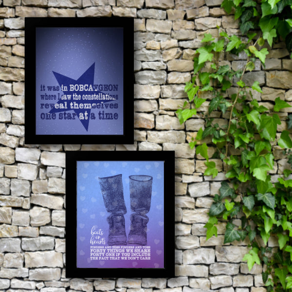 Boots or Hearts by the Tragically Hip Song Lyric Wall Art Poster Print